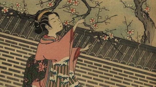 Harunobu_Suzuki-Egoyomi_Bijins_viewing_Plum_Blossoms